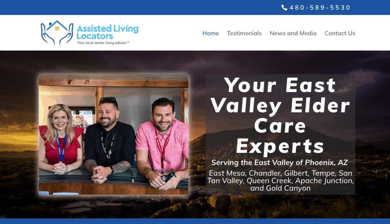 Assisted Living Locators East Valley website screenshot