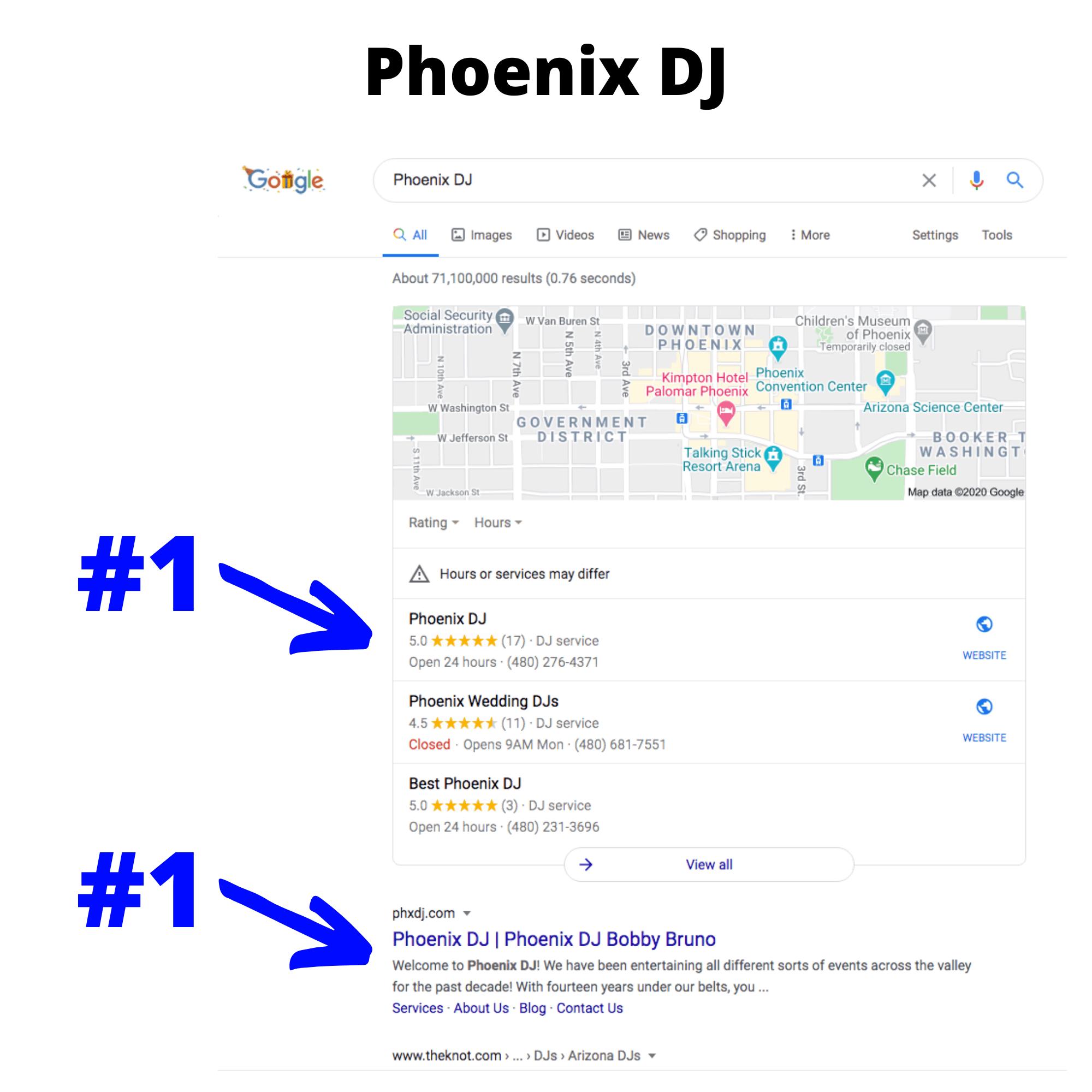 Phoenix DJ search results