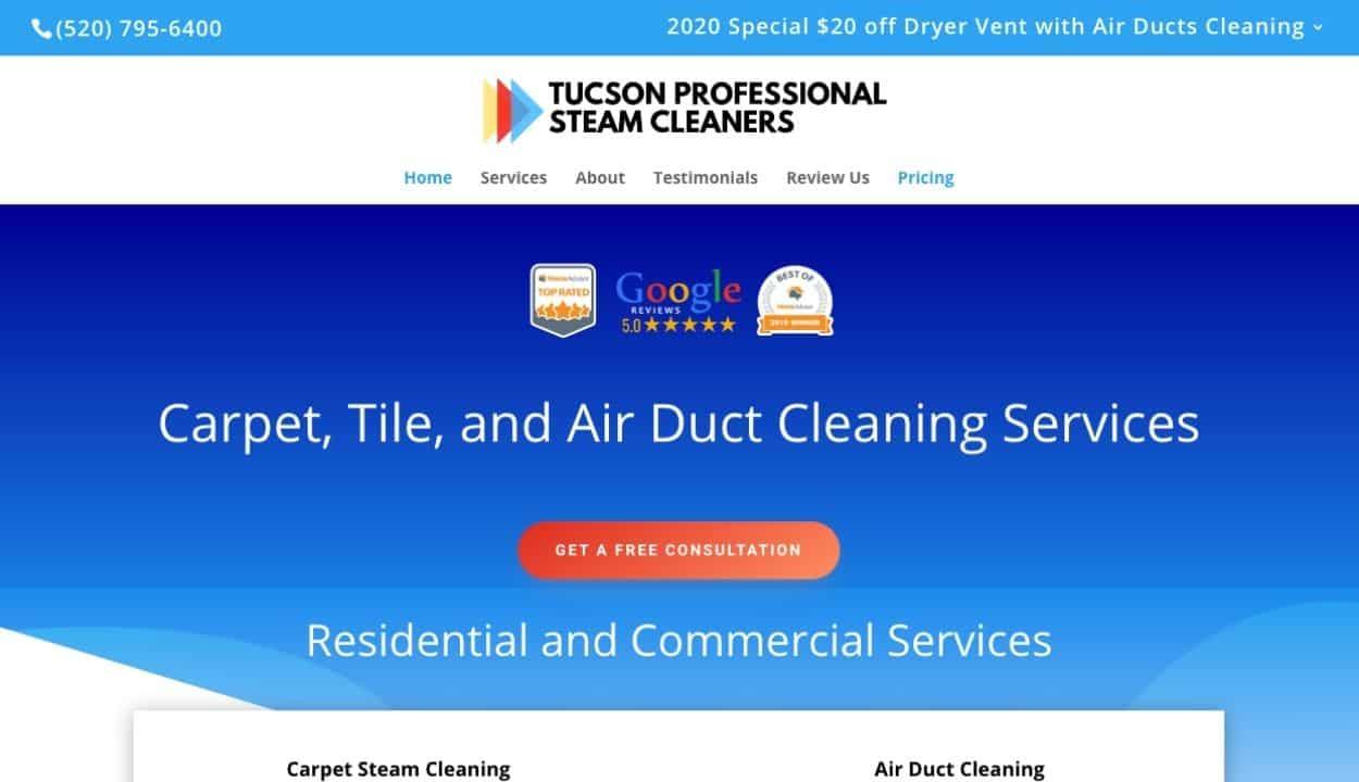 Tucson Professional Steam Cleaners Website Portfolio